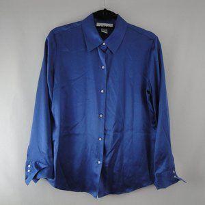ALFANI Blouse 10 Blue 100% Silk Long Sleeve Button